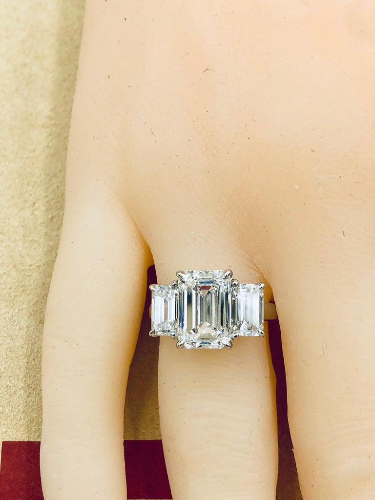 Emilio Jewelry 6.16 Carat GIA Certified Emerald Cut Diamond Engagement Ring For Sale 7