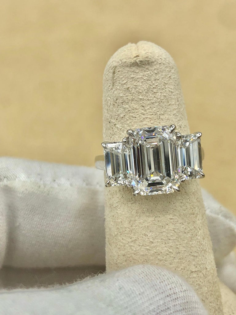 Emilio Jewelry 6.16 Carat GIA Certified Emerald Cut Diamond Engagement Ring For Sale 8