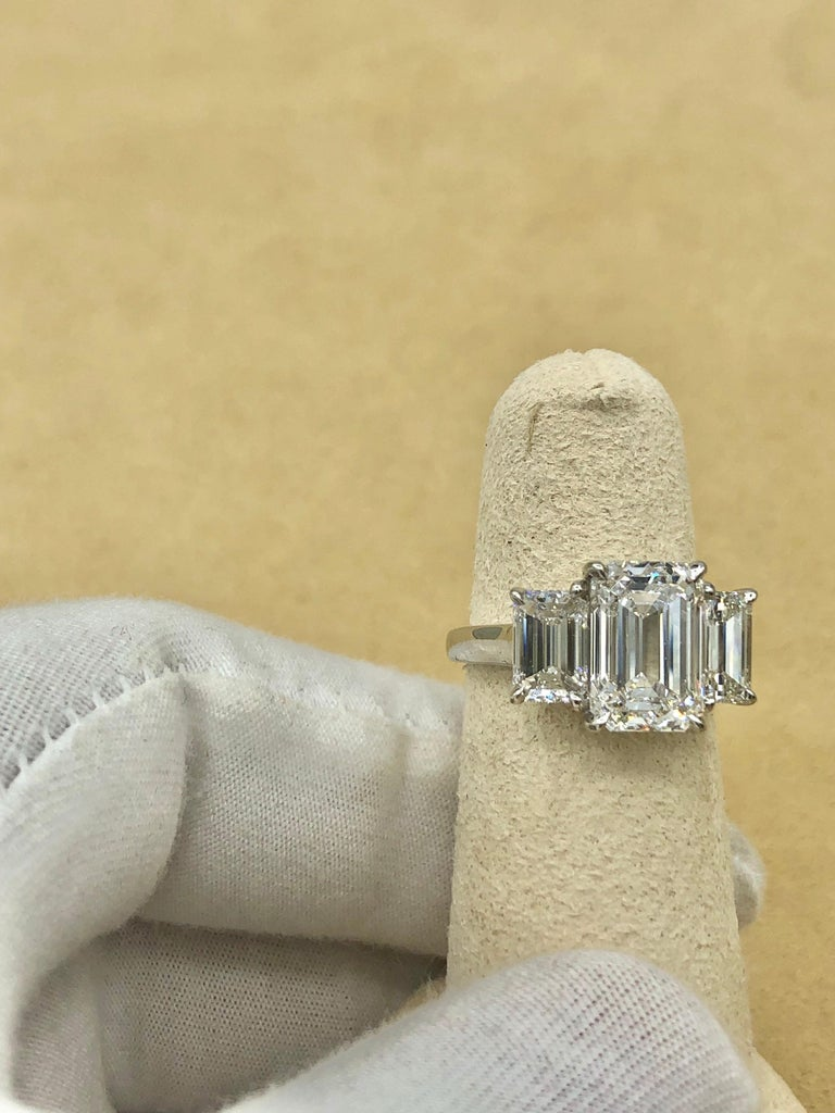 Emilio Jewelry 6.16 Carat GIA Certified Emerald Cut Diamond Engagement Ring For Sale 9
