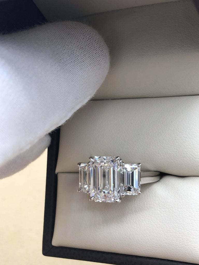 Emilio Jewelry 6.16 Carat GIA Certified Emerald Cut Diamond Engagement Ring For Sale 10