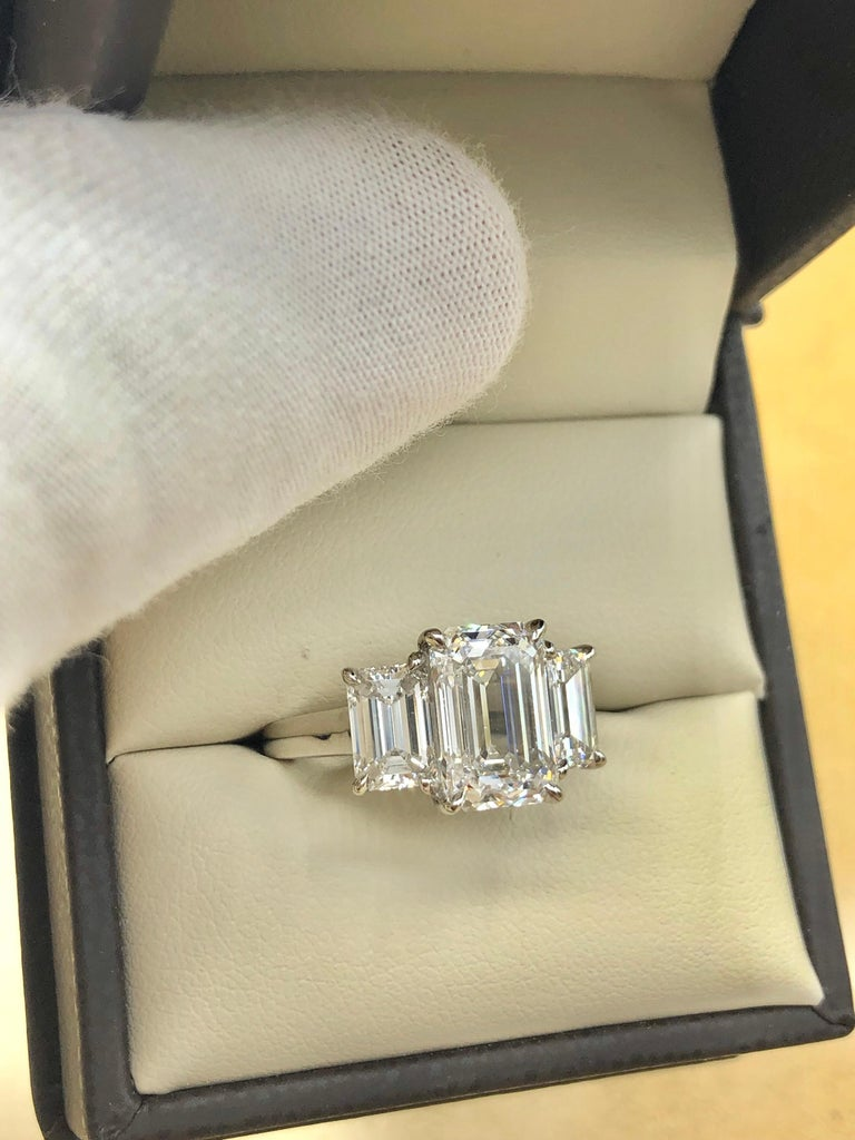 Emilio Jewelry 6.16 Carat GIA Certified Emerald Cut Diamond Engagement Ring For Sale 11