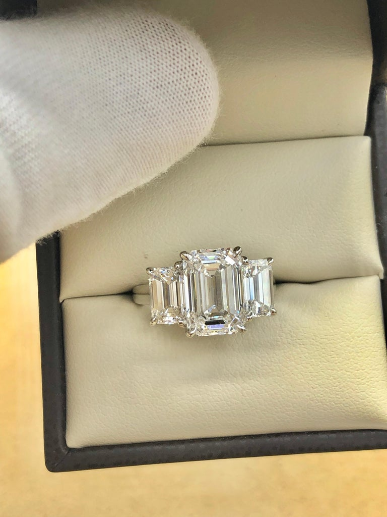 Emilio Jewelry 6.16 Carat GIA Certified Emerald Cut Diamond Engagement Ring For Sale 12