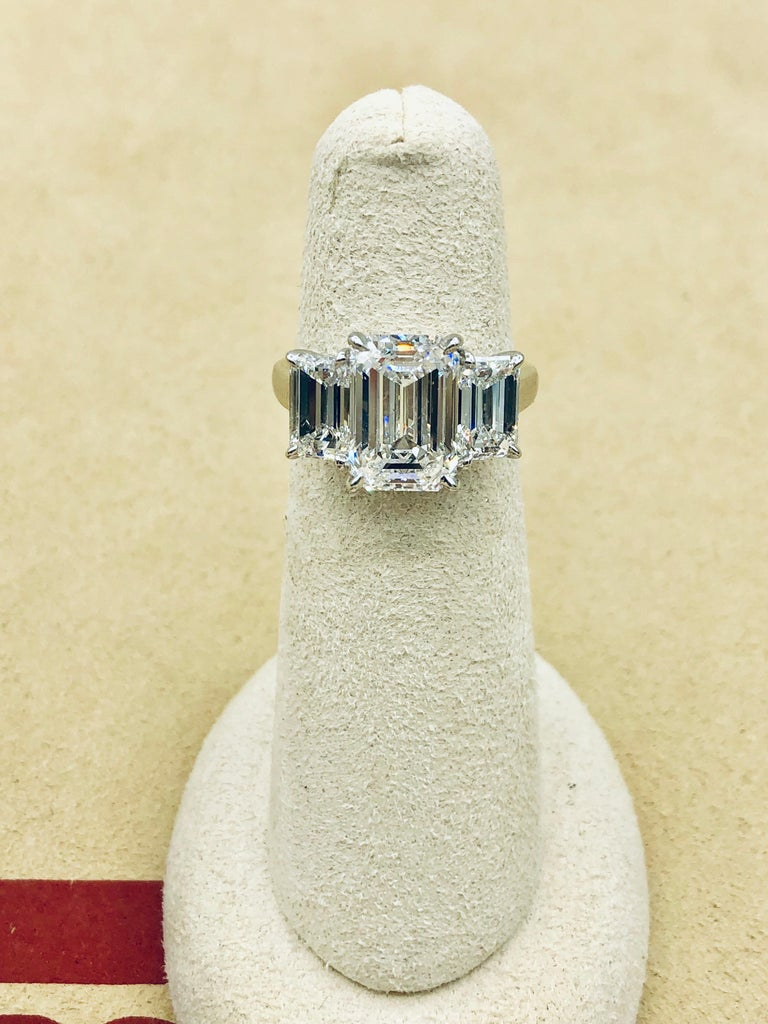 Emilio Jewelry 6.16 Carat GIA Certified Emerald Cut Diamond Engagement Ring In New Condition For Sale In New York, NY