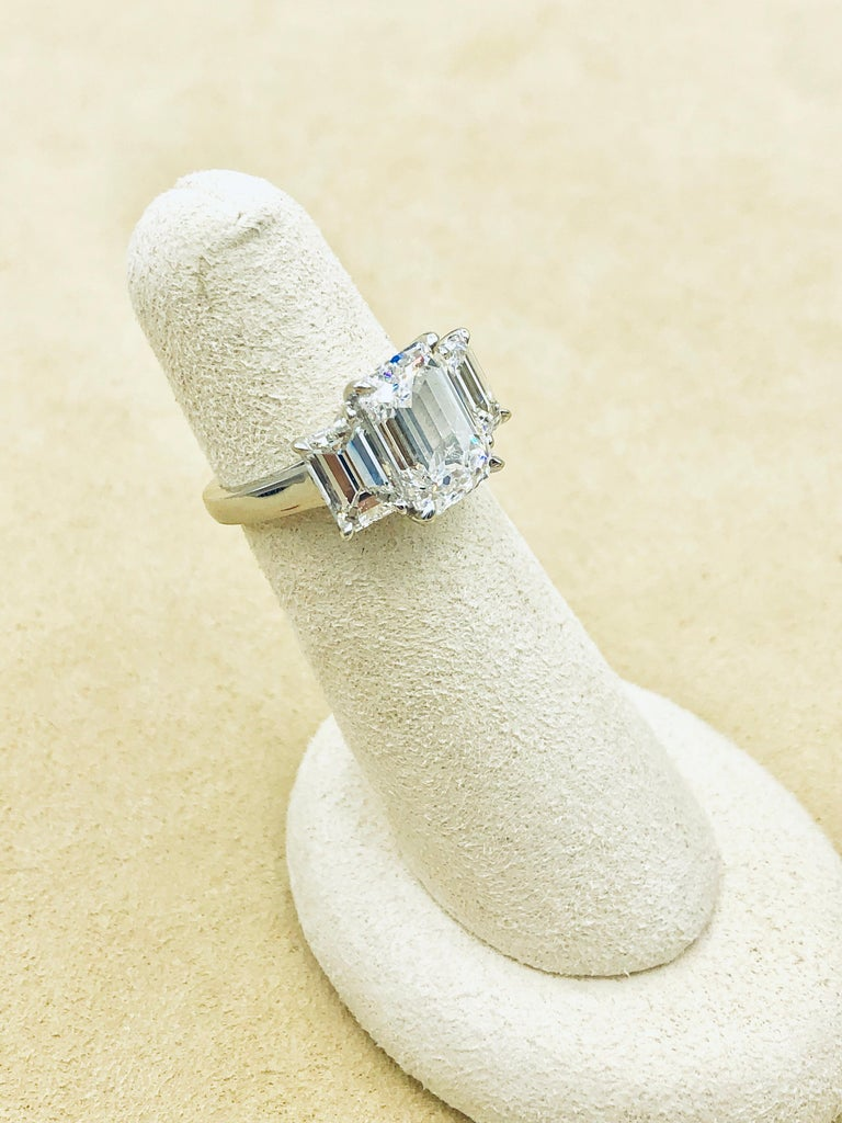 Women's or Men's Emilio Jewelry 6.16 Carat GIA Certified Emerald Cut Diamond Engagement Ring For Sale
