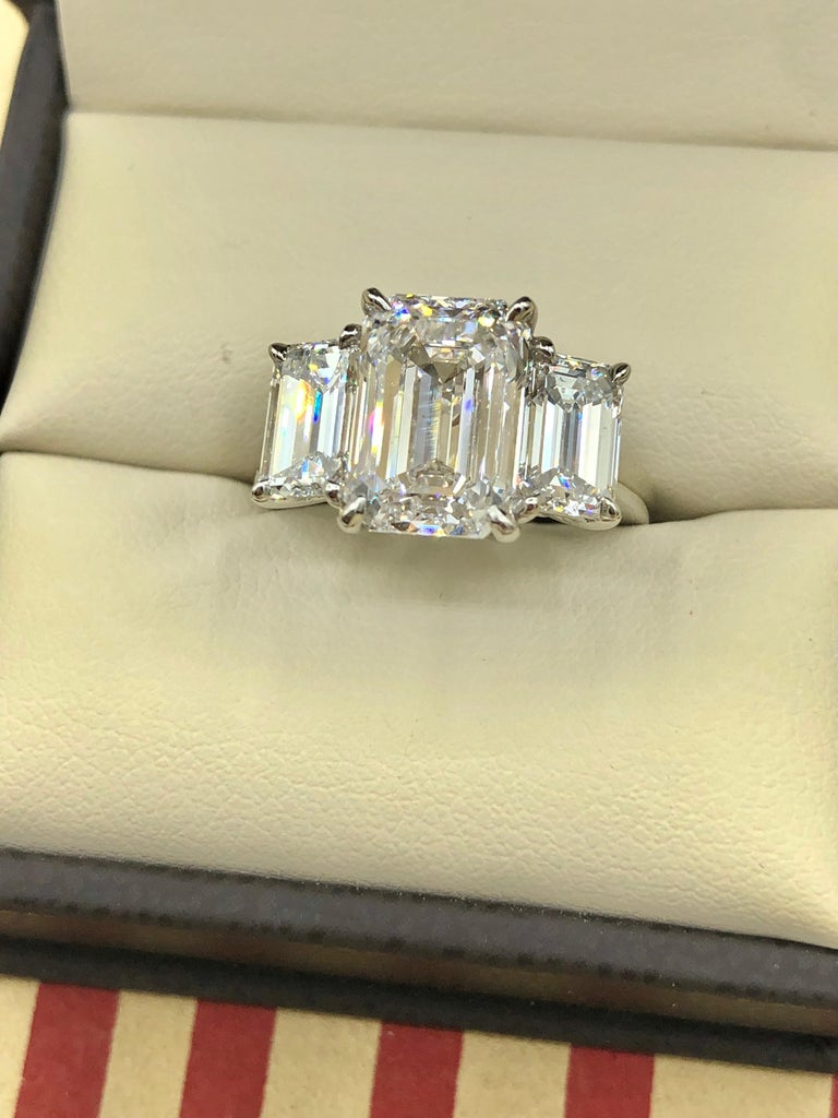 Emilio Jewelry 6.16 Carat GIA Certified Emerald Cut Diamond Engagement Ring For Sale 1