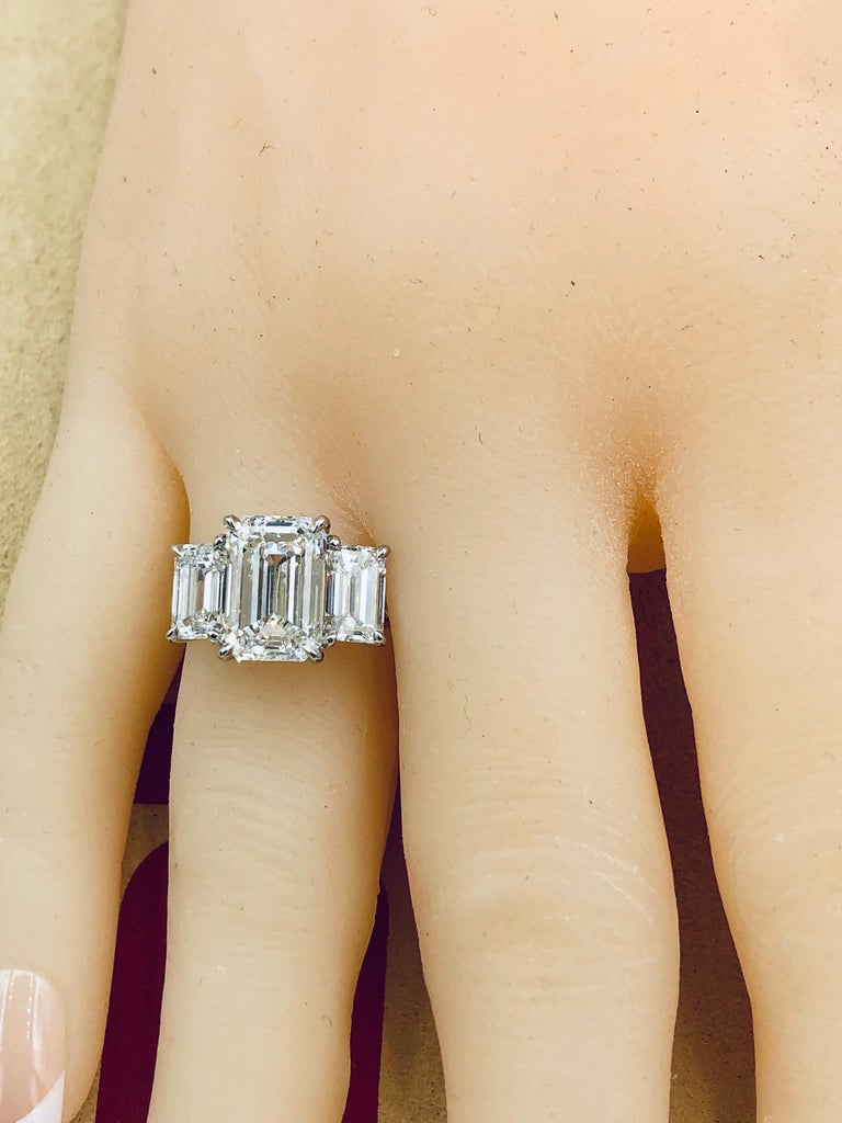 Emilio Jewelry 6.16 Carat GIA Certified Emerald Cut Diamond Engagement Ring For Sale 2