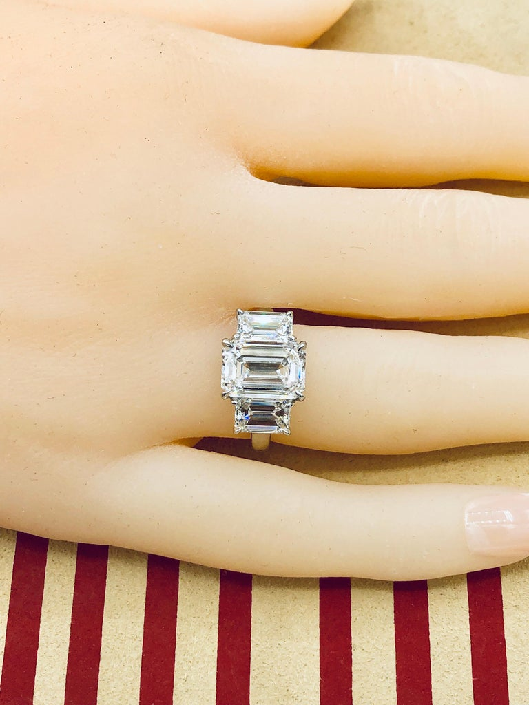 Emilio Jewelry 6.16 Carat GIA Certified Emerald Cut Diamond Engagement Ring For Sale 4