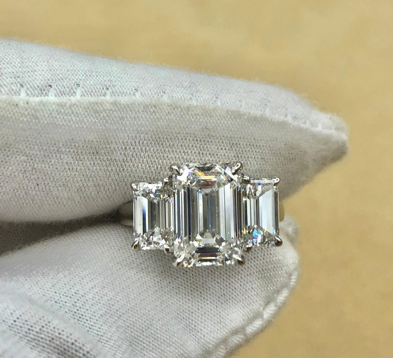 Emilio Jewelry 6.16 Carat GIA Certified Emerald Cut Diamond Engagement Ring For Sale 5