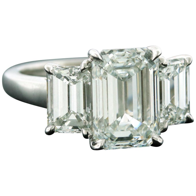 Emilio Jewelry 6.16 Carat GIA Certified Emerald Cut Diamond Engagement Ring For Sale
