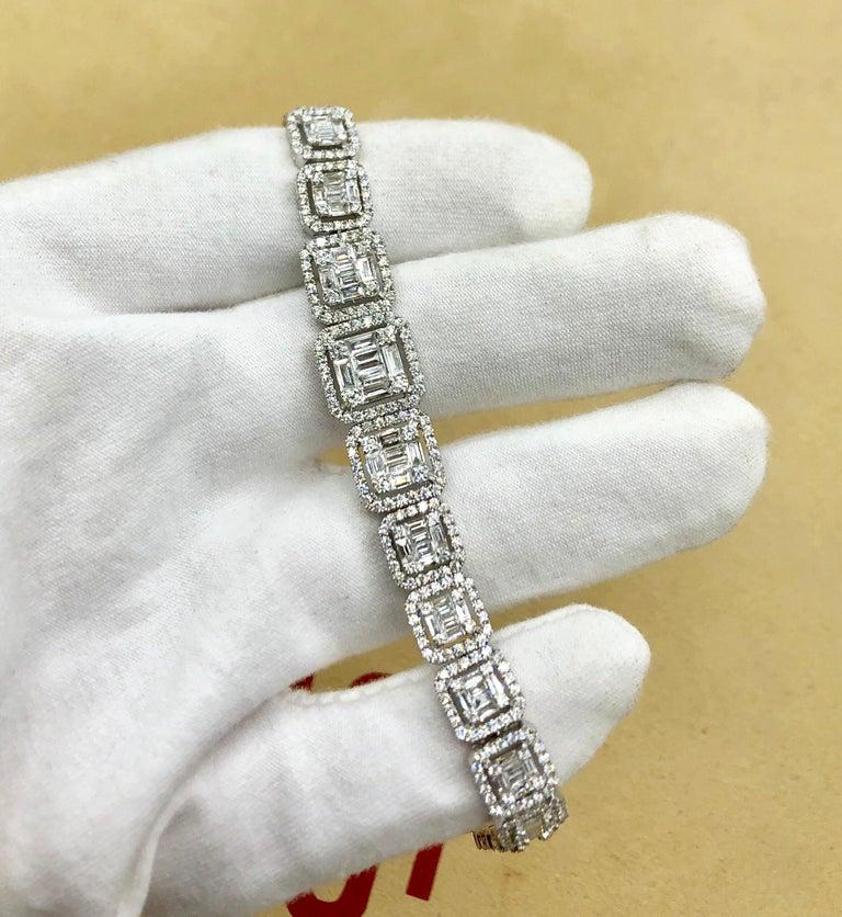 Emilio Jewelry 6.21 Carat Asscher Cut Diamond Illusion Bracelet For Sale 6
