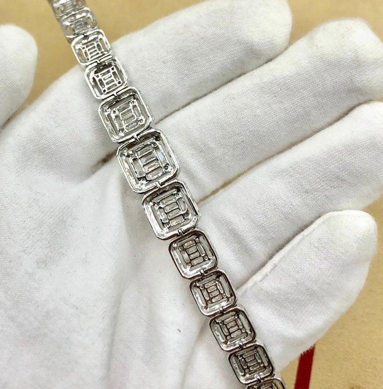 Emilio Jewelry 6.21 Carat Asscher Cut Diamond Illusion Bracelet For Sale 7