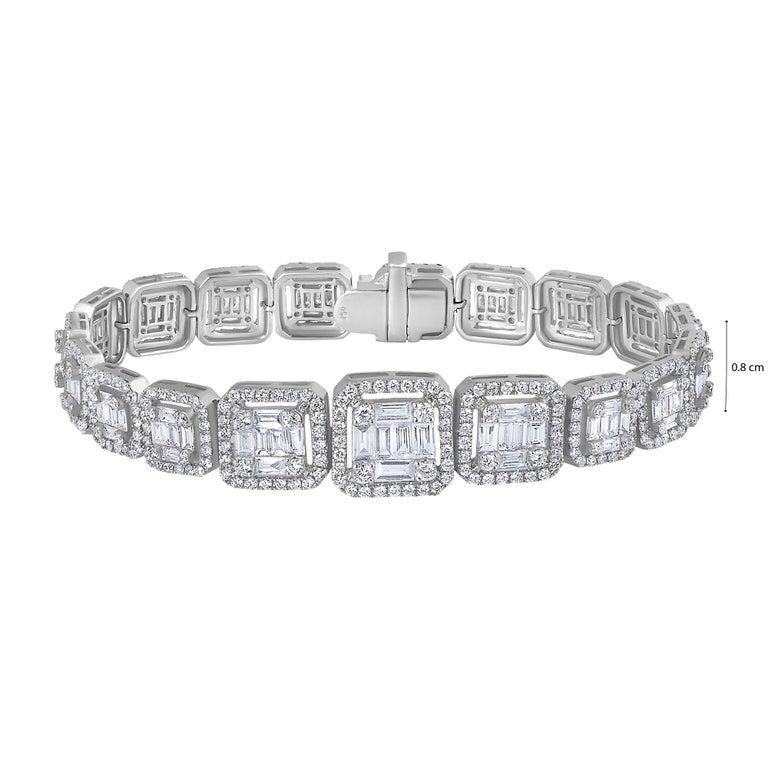 Emilio Jewelry 6.21 Carat Asscher Cut Diamond Illusion Bracelet For Sale 8
