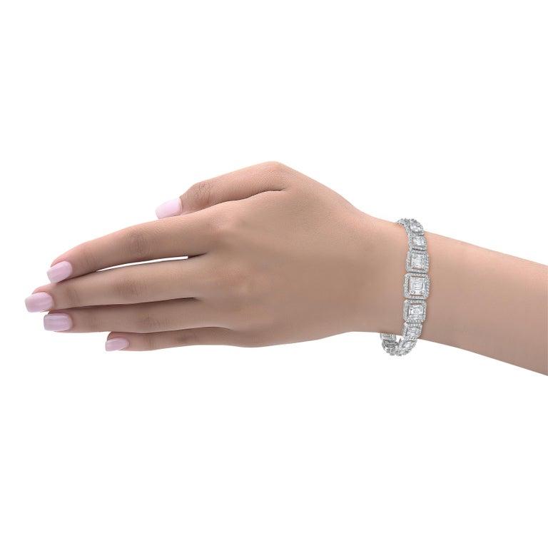 Emilio Jewelry 6.21 Carat Asscher Cut Diamond Illusion Bracelet For Sale 9