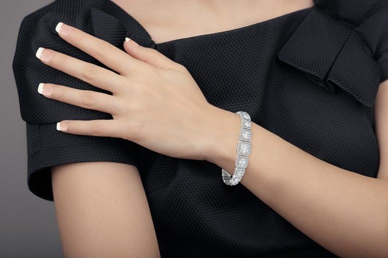 Emilio Jewelry 6.21 Carat Asscher Cut Diamond Illusion Bracelet For Sale 10