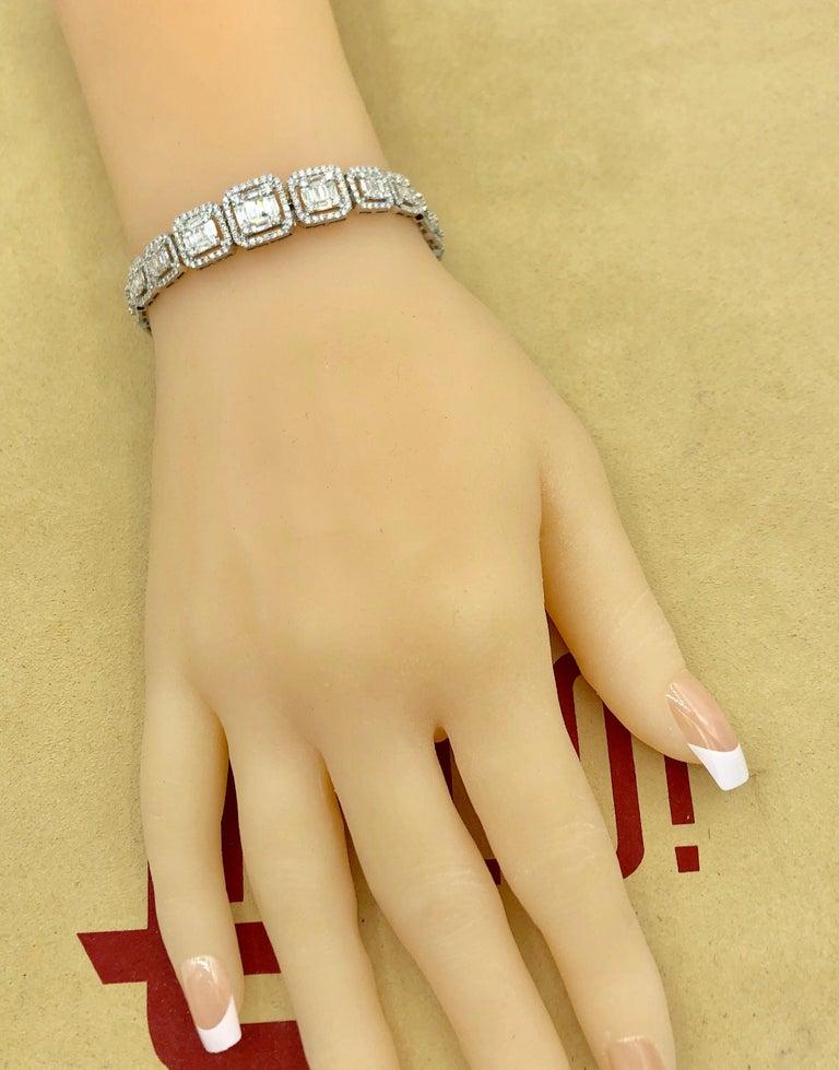 Women's or Men's Emilio Jewelry 6.21 Carat Asscher Cut Diamond Illusion Bracelet For Sale
