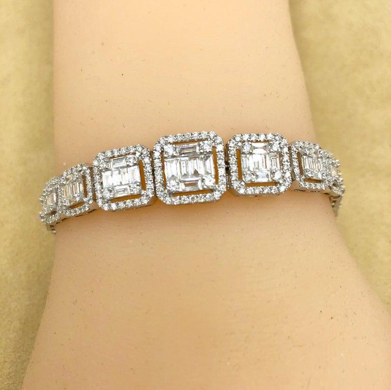 Emilio Jewelry 6.21 Carat Asscher Cut Diamond Illusion Bracelet For Sale 1