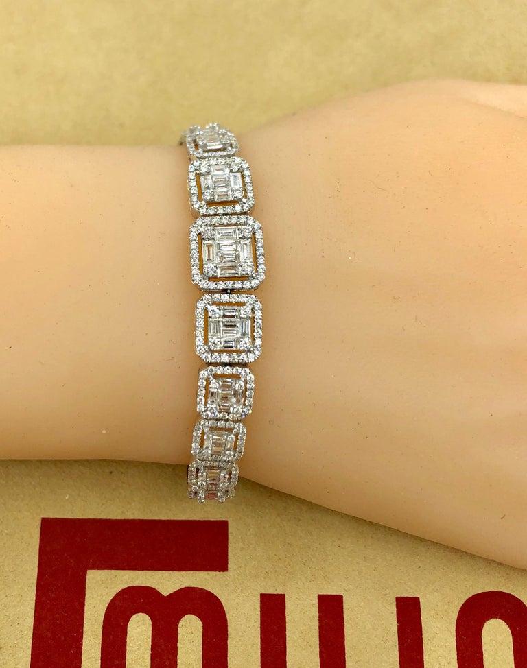 Emilio Jewelry 6.21 Carat Asscher Cut Diamond Illusion Bracelet For Sale 2