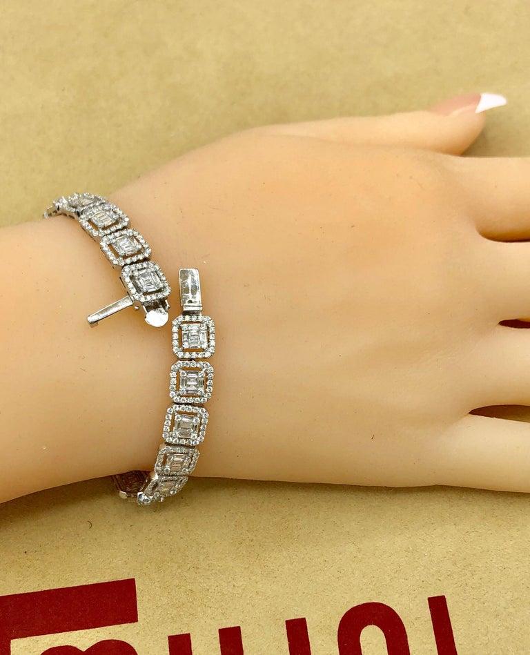Emilio Jewelry 6.21 Carat Asscher Cut Diamond Illusion Bracelet For Sale 3