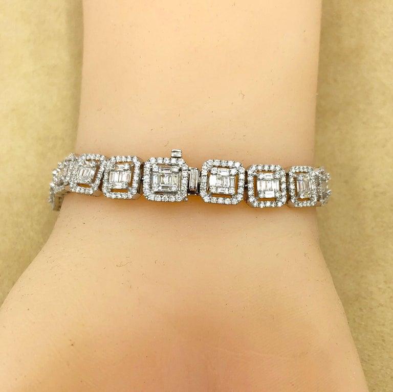 Emilio Jewelry 6.21 Carat Asscher Cut Diamond Illusion Bracelet For Sale 4