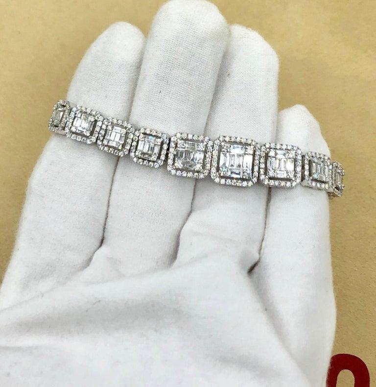 Emilio Jewelry 6.21 Carat Asscher Cut Diamond Illusion Bracelet For Sale 5