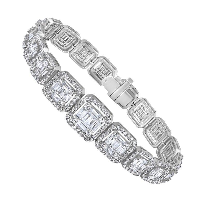 Emilio Jewelry 6.21 Carat Asscher Cut Diamond Illusion Bracelet For Sale