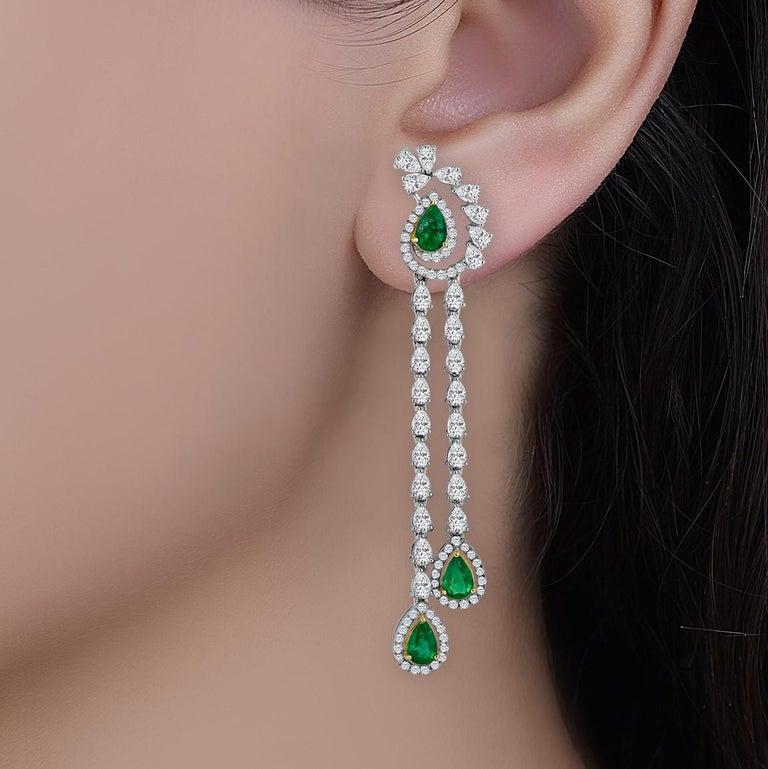 Women's Emilio Jewelry 6.37 Carat Emerald Diamond Earrings For Sale