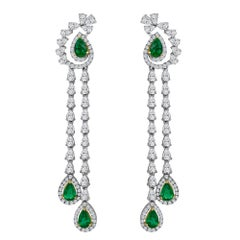 Emilio Jewelry 6.37 Carat Emerald Diamond Earrings