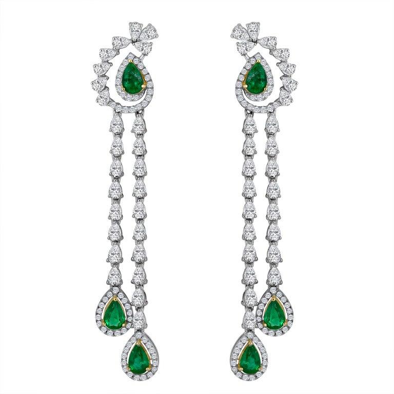 Emilio Jewelry 6.37 Carat Emerald Diamond Earrings For Sale