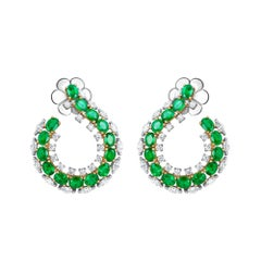 Emilio Jewelry 6.41 Carat Emerald Diamond Earrings