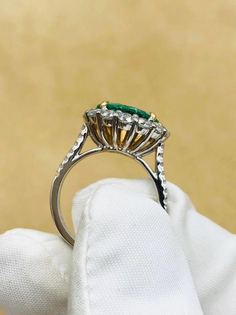 Emilio Jewelry 6.43 Carat Certified Colombian Emerald Diamond Ring For Sale 8