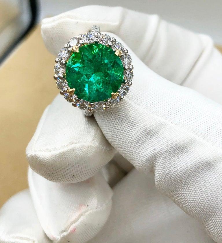 Emilio Jewelry 6.43 Carat Certified Colombian Emerald Diamond Ring For Sale 10