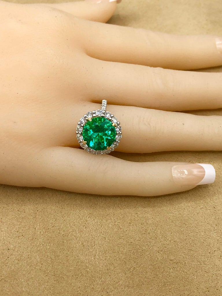 Emilio Jewelry 6.43 Carat Certified Colombian Emerald Diamond Ring For Sale 11