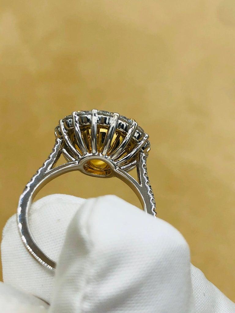 Emilio Jewelry 6.43 Carat Certified Colombian Emerald Diamond Ring For Sale 1