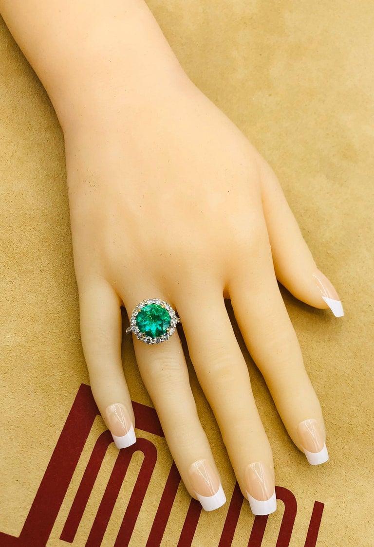 Emilio Jewelry 6.43 Carat Certified Colombian Emerald Diamond Ring For Sale 3