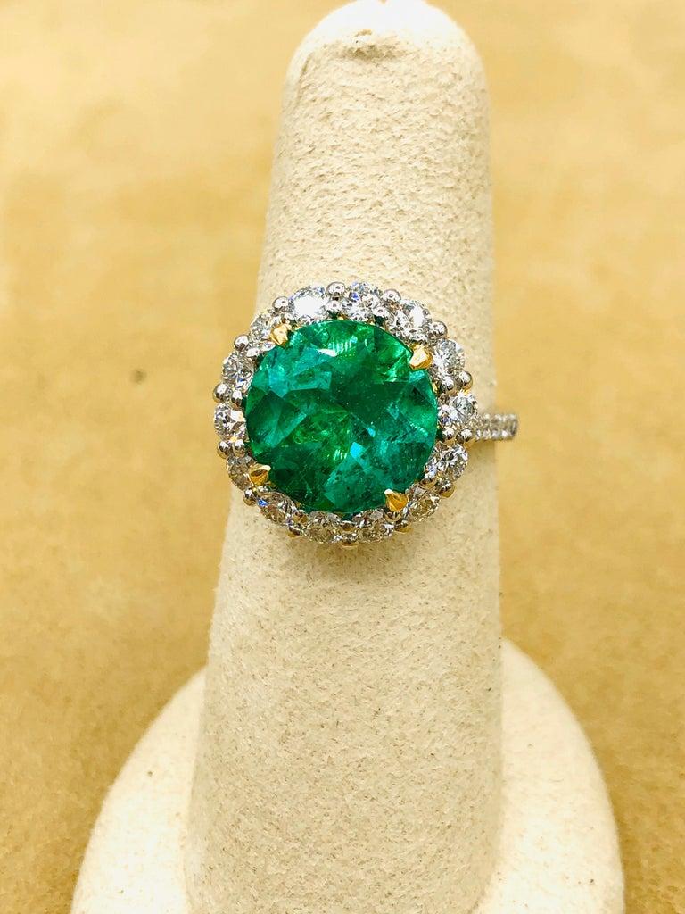 Emilio Jewelry 6.43 Carat Certified Colombian Emerald Diamond Ring For Sale 6