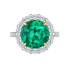 Emilio Jewelry 6.43 Carat Certified Colombian Emerald Diamond Ring