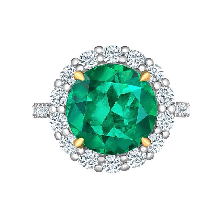 Emilio Jewelry 6.43 Carat Certified Colombian Emerald Diamond Ring For Sale