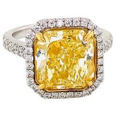 Emilio Jewelry 6.50 Carat GIA Certified Fancy Yellow Diamond Ring