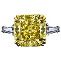 Emilio Jewelry 6.50 Carat GIA Certified Fancy Yellow Diamond Ring