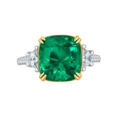 Emilio Jewelry 6.68 Carat Colombian Emerald Diamond Ring