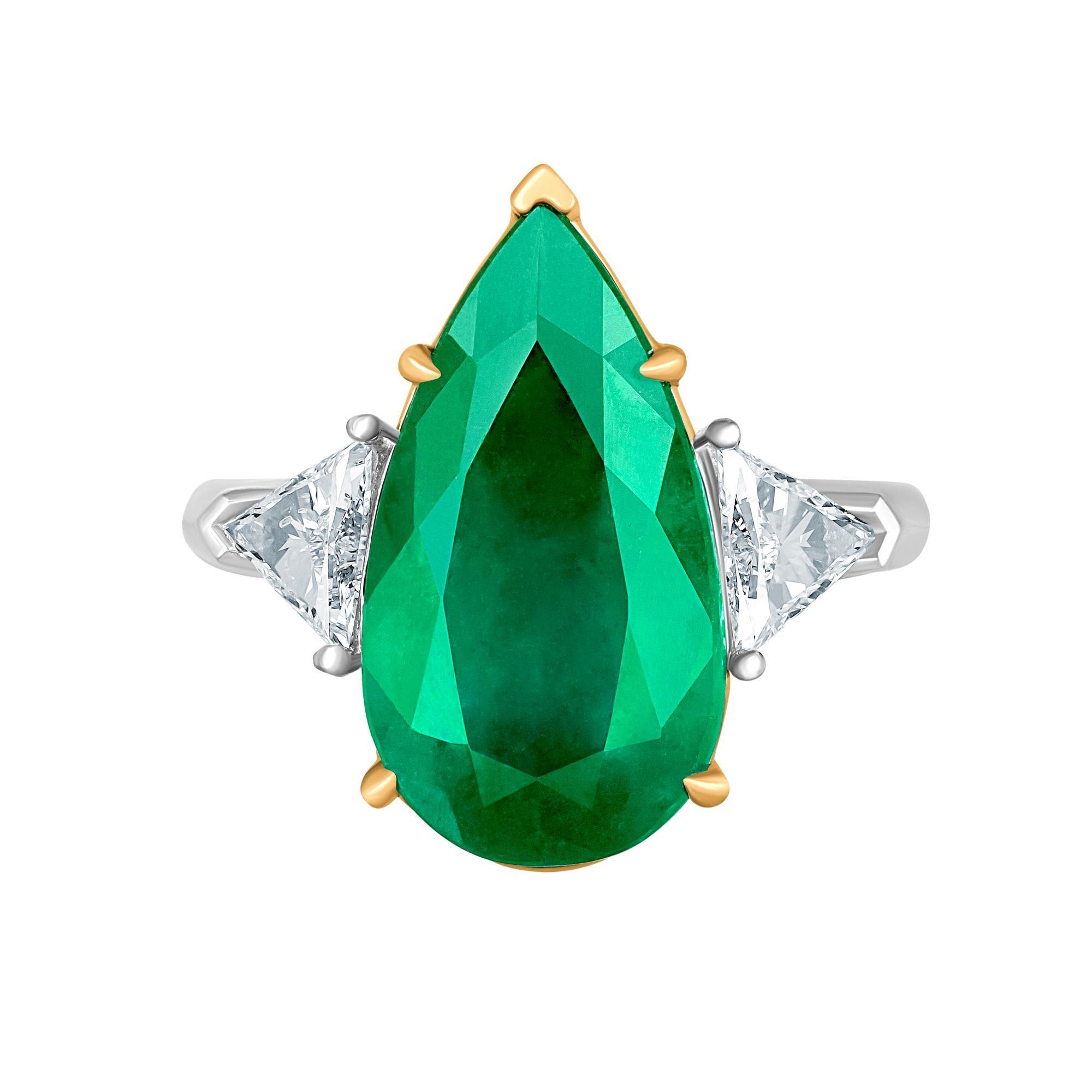 Emilio Jewelry 6.98 Carat Colombian Emerald Diamond Ring