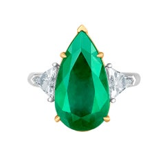 Emilio Jewelry 6.98 Carat Colombian Emerald Diamond Ring