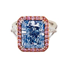 Emilio Jewelry 7.00 Carat GIA Certified Pure Blue Diamond Ring