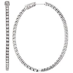 Emilio Jewelry 7.00 Carat Oval Diamond Hoop Earring 2 Inches Long