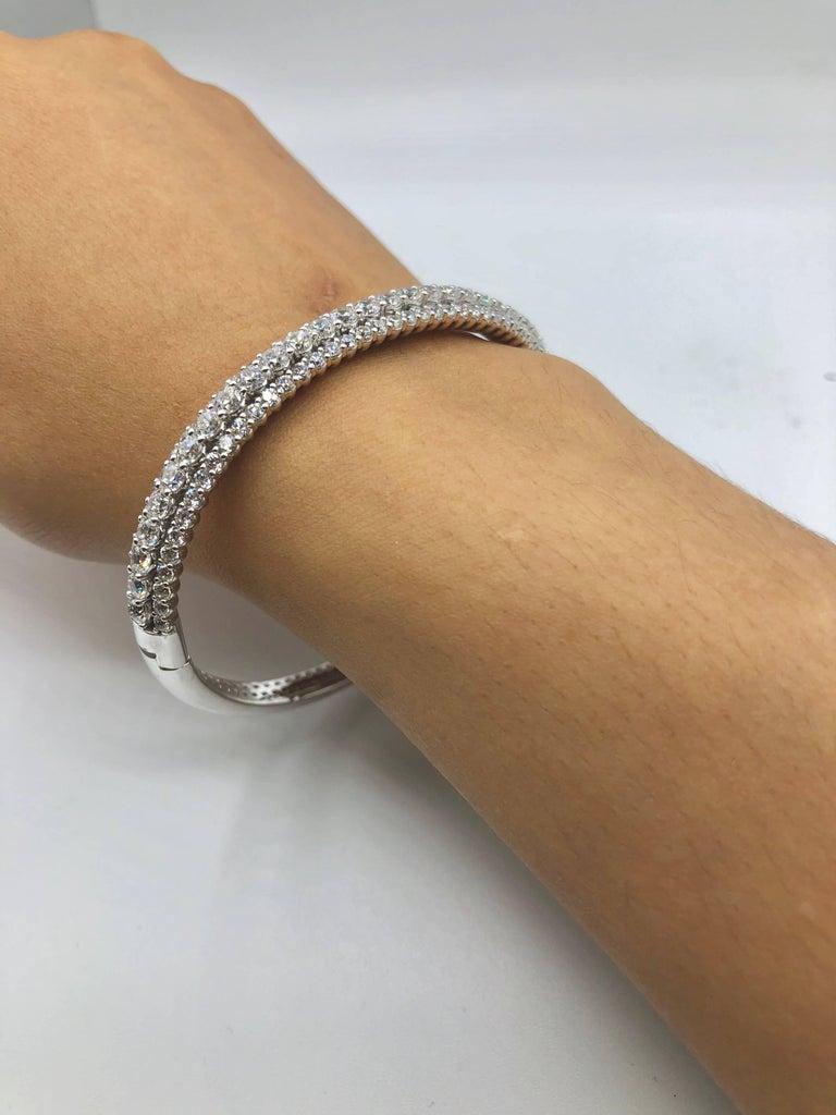 Modern Emilio Jewelry 7.50 Carat Diamond Bangle Bracelet For Sale