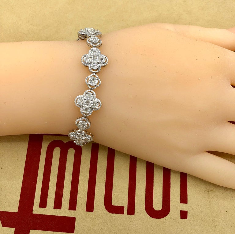 Emilio Jewelry 7.50 Carat Diamond Flower Bracelet For Sale 6