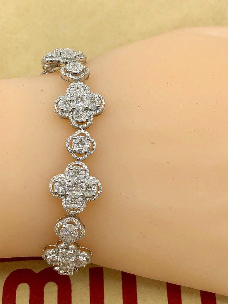 Emilio Jewelry 7.50 Carat Diamond Flower Bracelet For Sale 7