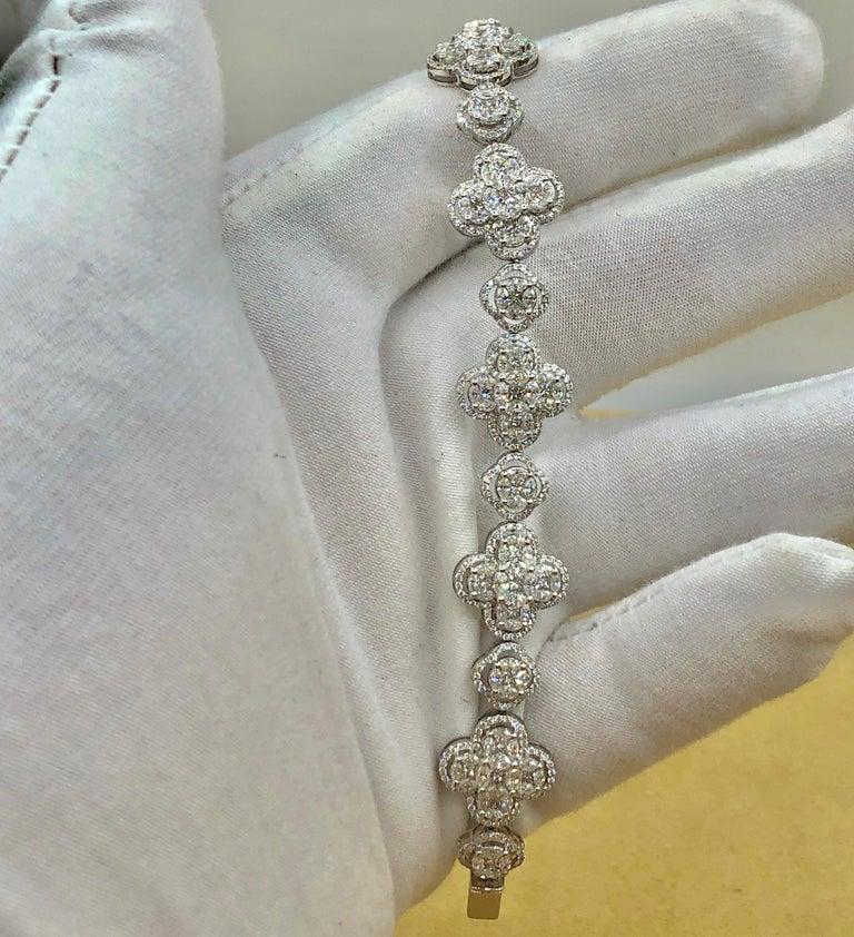 Emilio Jewelry 7.50 Carat Diamond Flower Bracelet For Sale 8