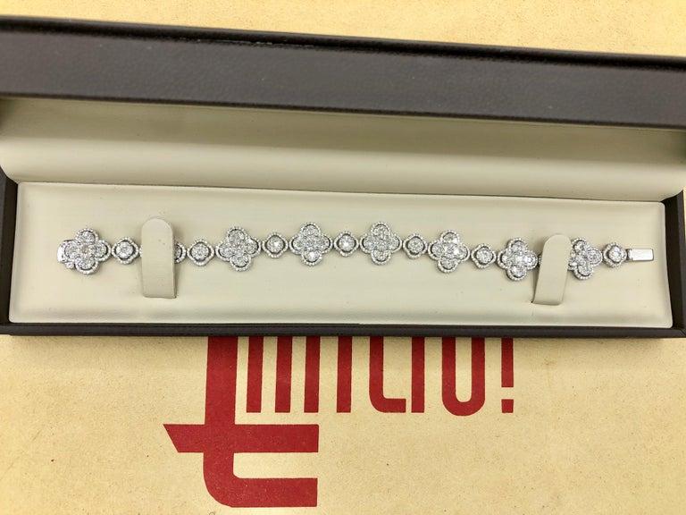 Emilio Jewelry 7.50 Carat Diamond Flower Bracelet For Sale 9