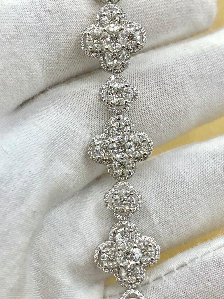 Emilio Jewelry 7.50 Carat Diamond Flower Bracelet For Sale 1